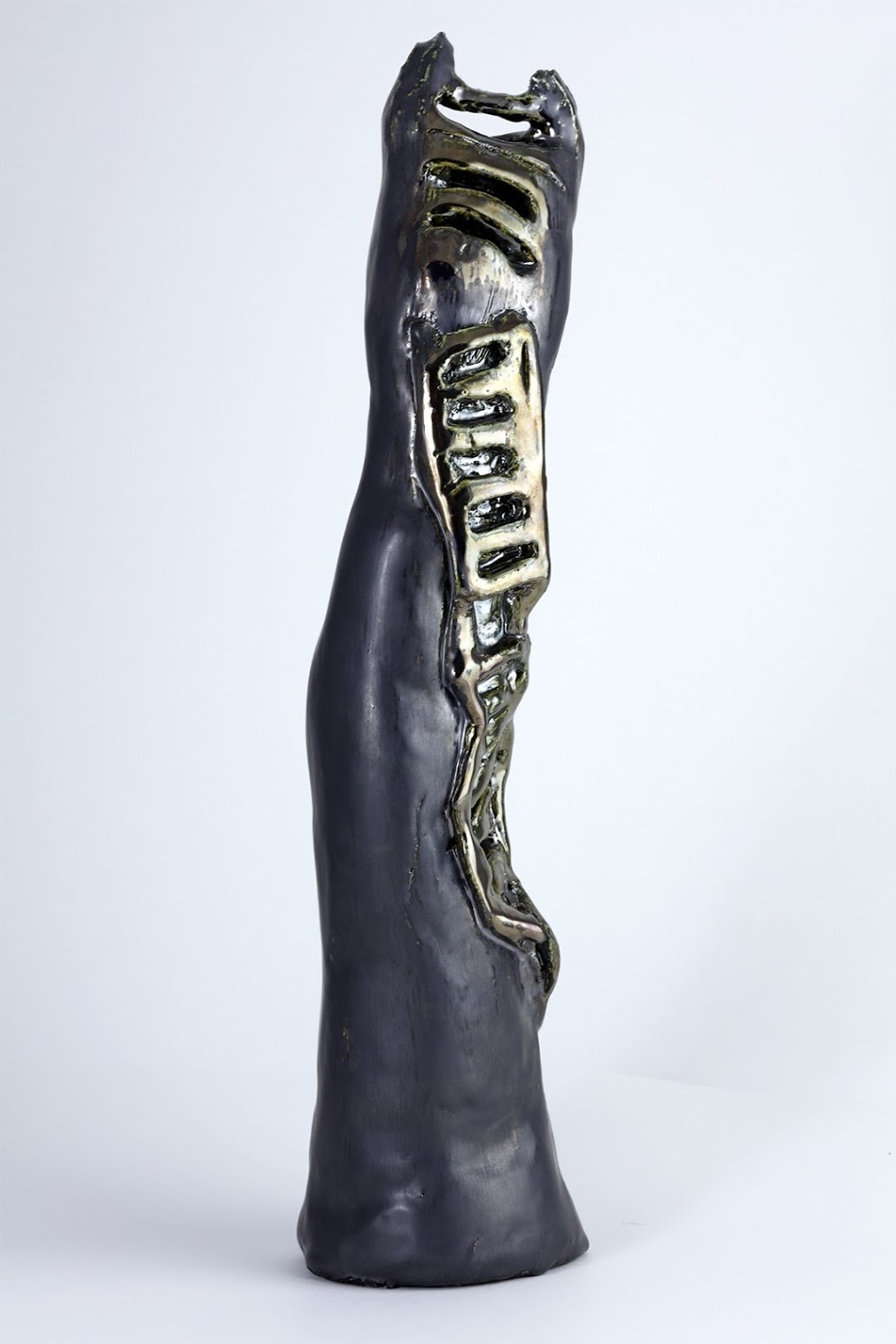 matte and metallic black ladder ceramic sculpture